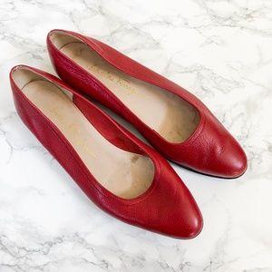 Salvatore Ferragamo Boutique Red Leather Flats